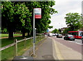 TQ1568 : Authorised bus stand sign, Hampton Court Road, East Molesey by Jaggery