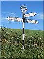 SD7466 : Fingerpost near Lane Side (Railway) Bridge, Keasden by John S Turner