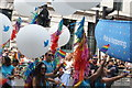 TQ2980 : View of Twitter balloons and streamers in the Pride London parade : Week 28