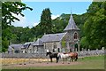 NT7562 : Horses and the kirk, Abbey St Bathans by Jim Barton