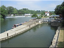 SU5980 : River and lock view at the Goring Gap by Peter S