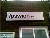TM1543 : Ipswich Railway Station sign by Adrian Cable