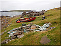 HU2177 : Fishing boat on Stenness beach by Andy Waddington