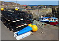 NT9267 : Lobster pots on the quayside at St Abbs Harbour by Mat Fascione