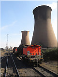 SE9110 : Scunthorpe Steelworks: cooling towers and torpedo wagons by Gareth James