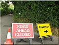 SX8379 : Closed road, Little Helstonsbench Cross by Derek Harper