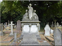 TQ2272 : Faith, Hope and Charity in Putney Vale Cemetery by Marathon