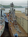 SW8232 : Dry Docks Falmouth - collapsed crane by Chris Allen