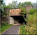 ST2999 : Low railway bridge near Pontypool & New Inn station by Jaggery