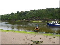 SX6643 : Ferry across River Avon at Bantham by David Smith