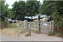 TQ1352 : Gates to car park, Polesden Lacey by M J Roscoe