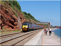 SX9777 : South West Coast Path and Railway between Dawlish and Langstone Point by David Dixon