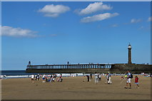 NZ8911 : Whitby Sands by the Pier and Extensions by Andrew Diack