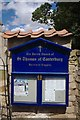 SK9725 : The church of St. Thomas of Canterbury: Sign by Bob Harvey