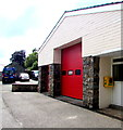SN9768 : Yellow and red, Rhayader Fire Station by Jaggery
