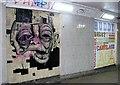 TG2208 : St Stephens underpass - artwork vandalised by Evelyn Simak
