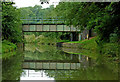 SP5970 : Railway bridge over the canal near Watford, Northamptonshire by Roger  Kidd