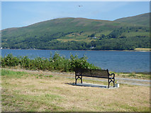 NS0571 : Memorial bench by the A886 Rhubodach Road by Thomas Nugent