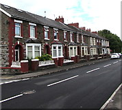 ST1888 : Row of houses on the south side of Standard Street, Trethomas by Jaggery