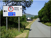 NR9983 : Road sign for Otter Ferry by Thomas Nugent