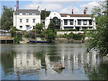 TQ0866 : The River Thames and houses on Russell Road, Lower Halliford by Mike Quinn