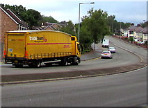 ST3090 : Yellow lorry northbound on Malpas Road, Newport by Jaggery