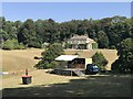 ST8899 : Gatcombe Park: bin, pub, house by Jonathan Hutchins