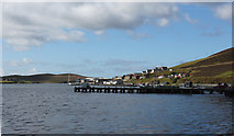 HU4039 : Scalloway harbour and pier (from Main Street) by Stuart Taylor