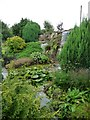 SE4672 : Water cascade and rockery, Pilmoor Cottages garden by Christine Johnstone