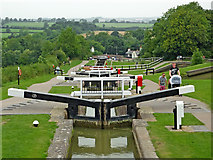SP6989 : Staircase locks and farmland at Foxton in Leicestershire by Roger  Kidd