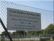 TL7205 : Great Baddow Bowling Club sign by Adrian Cable