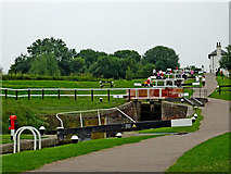 SP6989 : Upper staircase at Foxton Locks, Leicestershire by Roger  Kidd