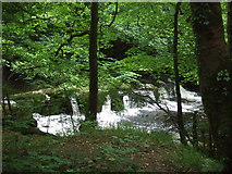 SK1985 : Small waterfalls on the River Derwent near Yorkshire Bridge by JThomas
