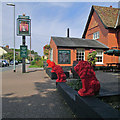 TL4856 : Cherry Hinton: red lions at The Red Lion by John Sutton
