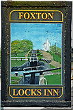 SP6989 : Foxton Locks Inn pub sign (east) in Leicestershire by Roger  Kidd