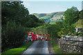 SH8910 : Road closure in Cwm Tafolog by Trevor Littlewood