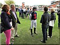 SK6101 : Leicester Racecourse - Connections discussing race tactics with Sexy Secret's jockey by Richard Humphrey