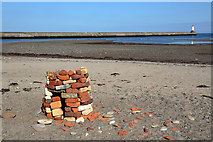 NU0052 : A cairn at Sandstell Point by Walter Baxter