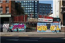 TQ3382 : View of street art on the front of Block Food Court on Shoreditch High Street by Robert Lamb