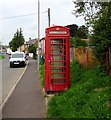 SY6097 : Red phonebox, Dorchester Road, Maiden Newton by Jaggery