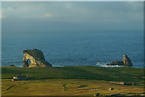 HT9541 : Ristie. Gaada Stack and da Sheepie, Foula by Mike Pennington