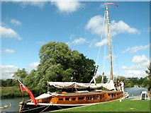 TG3619 : The Pleasure Wherry 'Hathor' at How Hill Staithe by Evelyn Simak