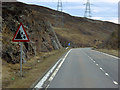 NN6871 : Watch Out for Falling Rocks, Southbound A9 in Glen Garry by David Dixon