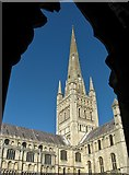 TG2308 : Norwich cathedral spire from the cloisters by Evelyn Simak