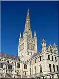 TG2308 : Norwich cathedral spire and south transept by Evelyn Simak