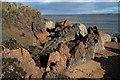 NH7458 : Multicoloured rocks, Rosemarkie : Week 38