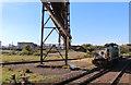 SE9210 : Appleby Frodingham Steelwork - locomotive and pipe bridge : Week 40