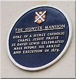 SO3014 : The Gunter Mansion blue plaque, Cross Street, Abergavenny by Jaggery