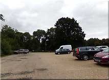 TL8425 : Exit of the Visitors Car Park at Marks Hall by Adrian Cable