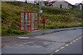 HU4324 : Bus Shelter and Post Box at Leebotten by David Dixon